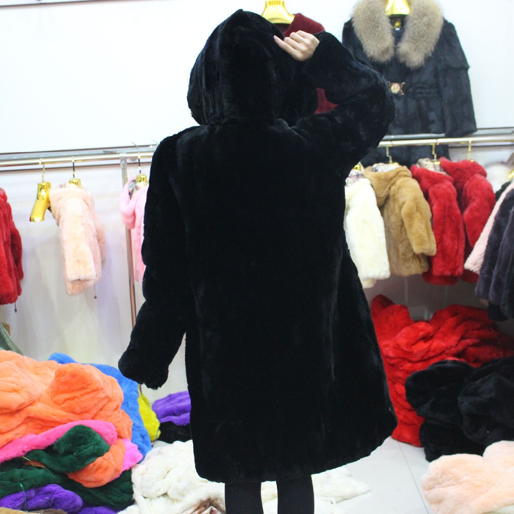 Linhaoshengyue  Women Rex Rabbit Long Coat  With Hood  Winter Warm Real Rex Rabbit Fur  100cm  Long