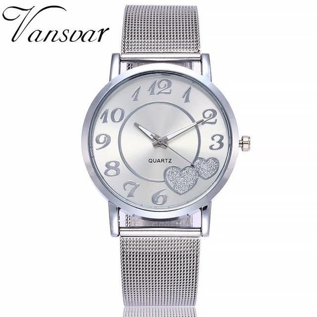 Dropshipping Women Silver & Gold Mesh Love Heart Dial Wristwatches Fashion Casual Women's Steel Quartz Watches Relogio Feminino  1