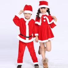 Kids Children Baby Girls Dress Boys Santa Suit Christmas Party Novelty Costume Outfits fleece clothing Sets with Hat S2589