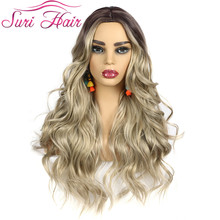 Suri Hair long Layered Body Wave Synthetic wigs for white women lighter brown blonde wigs ombre color cosplay side part 28inch wignee hand made front ombre color long blonde synthetic wigs for black white women heat resistant middle part cosplay hair wig