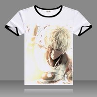 Hot Anime One Punch Man T-shirts Black O-Neck Short Sleeve Tops Fashion Saitama Printed Genos Tees for Summers 1