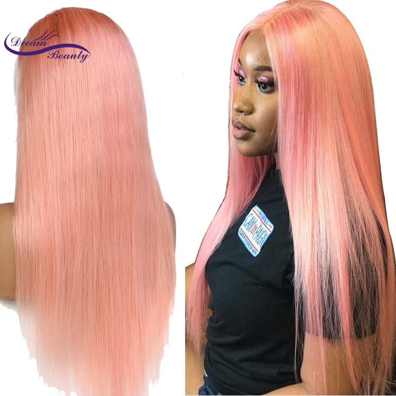 Dream Beauty Peruvian Remy Human Hair Pink Color Front Lace Wig Pre Plucked Hairline Straight Hair