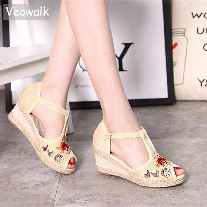 9a6fb2c8c105 Veowalk Lotus Embroidered Women Open Peep Toe T-strap Linen Sandals Summer  Bohemian Ladies Comfort