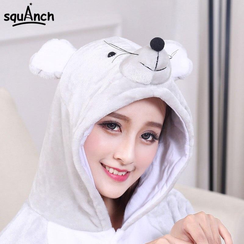 Mouse Onesie With Slipper Good Quality Kigurumi Animal Kigurumi Gray Funny Pajama Winter Sleepwear Warm Adult Women Men Jumpsuit