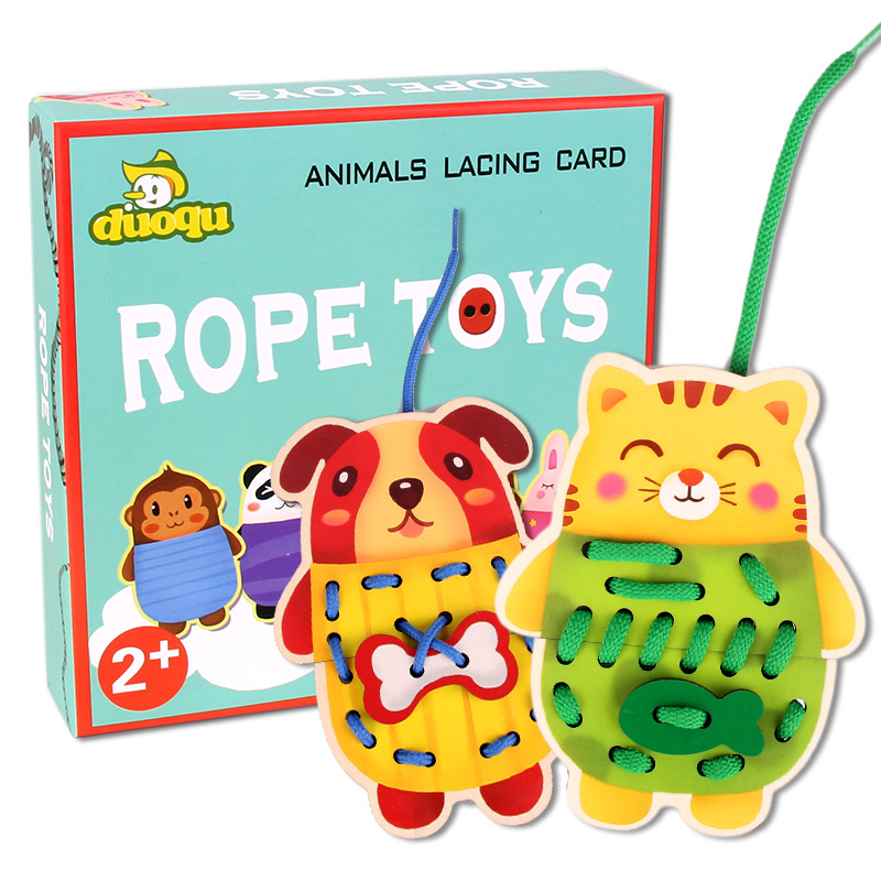5PCS cartoon animals wear rope games & Animals Lacing Card Rope Toys, Children's early wooden desktop toy desktop Montessori toy