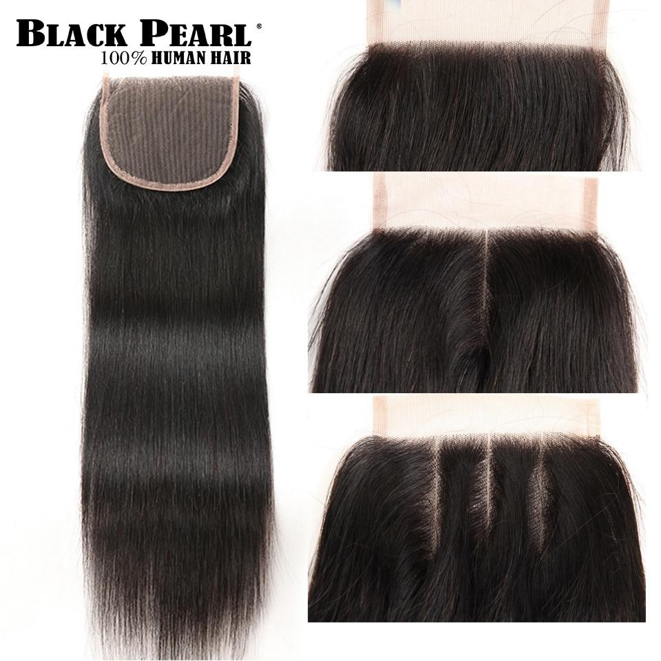 Hair-Bundles Closure Weave Human-Hair Black Pearl Straight Peruvian 34inch with 4pc/Lot