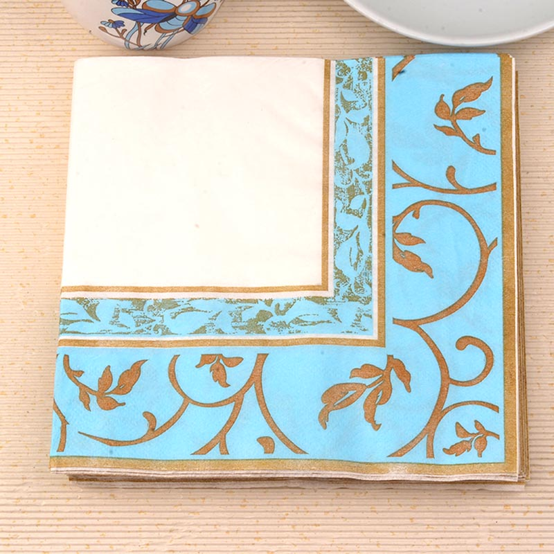 33*33cm 20 PCS/Pack fashion blue gold edge Paper Napkin Party 100% Virgin Wood Paper Napkin for dinner
