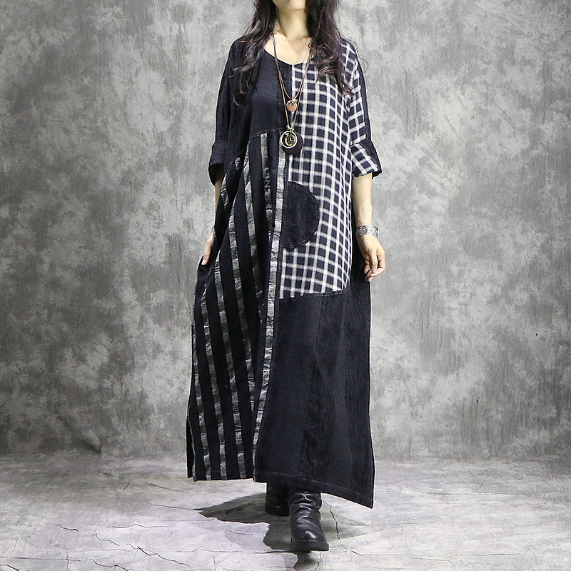 Plaid Robes Coton Rétro Robe Dress Taille Vintage Femmes Spliced Plus La Cou Linge Lâche Patchwork V Dames Lin 5OvCW4qx
