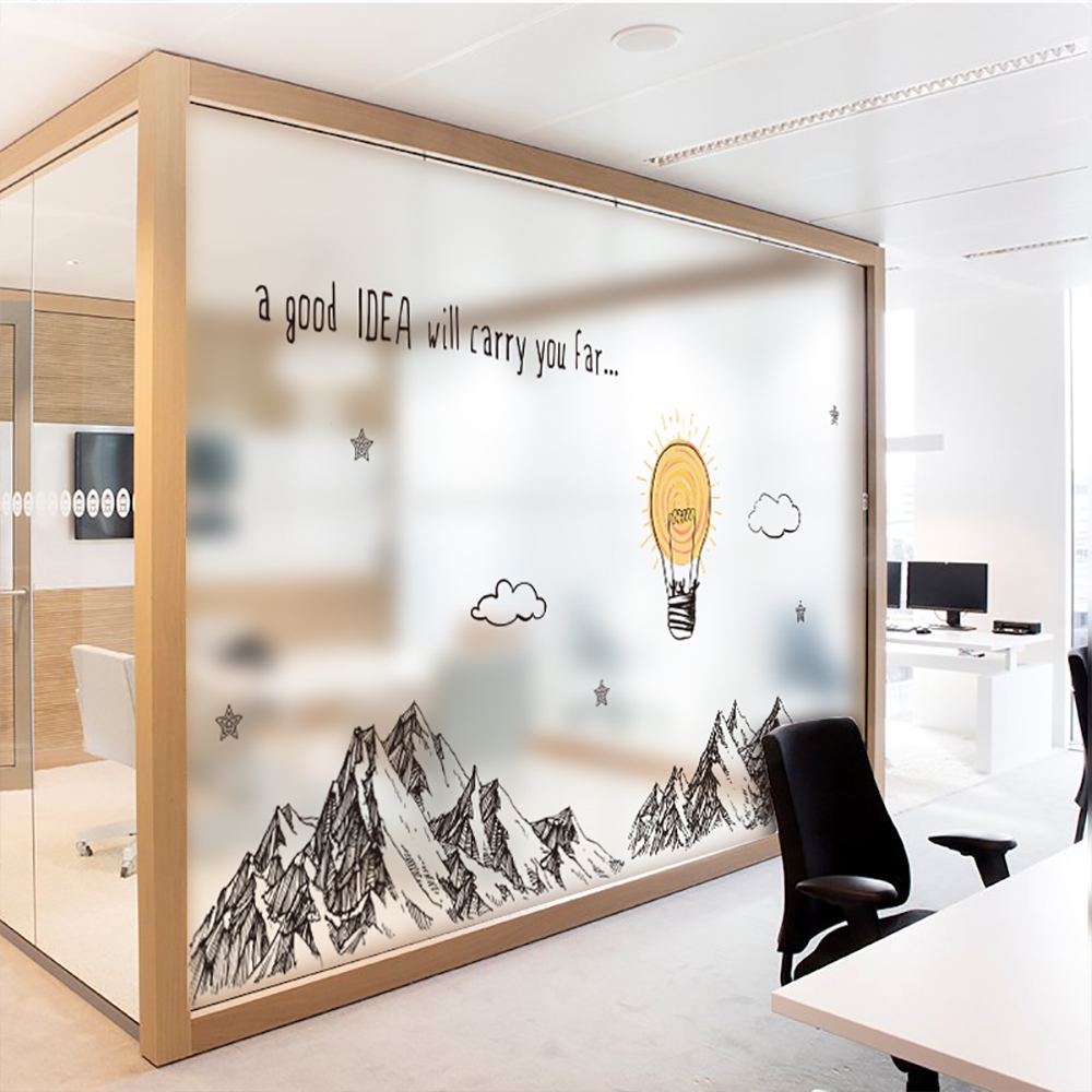 Where To Buy Room Decor: Mountains Wall Stickers For Meeting Room Business Decor