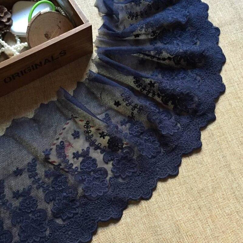 Stickerei Blau Spitze Stoff Trim 19cm Band Spitze Band DIY Nähen Zubehör Garnituren Guipure Handwerk Liefert dentelle L63