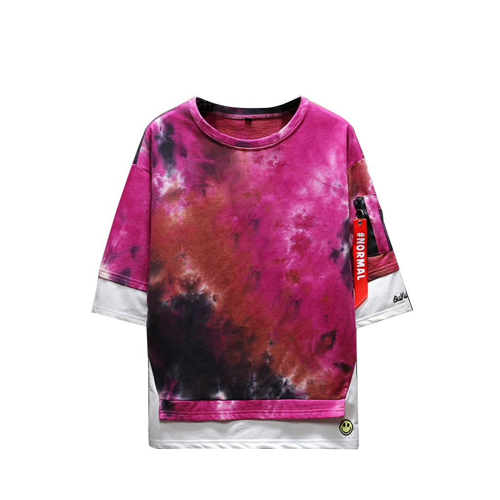 2019 New Hot Men Summer New Style Fashion Printed Tie-Dyed Fake Two Comfortable Top M-5XL Instyle Vetements de mode pour hommes 5