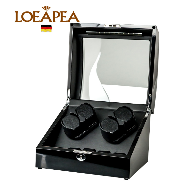 Professional collector Watch winder 4+5 watches reel winder display with LED ligth/Top glass window/Door sensor ...