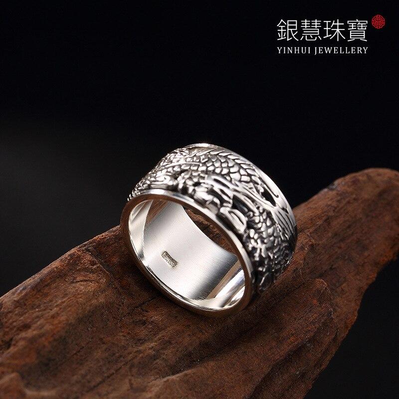 100% pur 925 bijoux en argent Sterling anneaux Punk hommes chevalière pour les femmes spécial cadeau de noël FR050