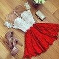 Elegante Do Laço Das Mulheres Vestido de Verão 2016 Malha Patchwork Moda Feminina A-line O-Neck Sexy Perspectiva Mini Vestido Vestidos Plus Size