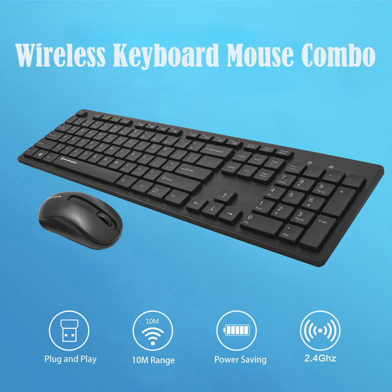 Image 2 - W1060 2.4Ghz Wireless Keyboard Mouse Slim Ergonomic Multimedia Keyboard 104 Keys USB Receiver 10M Range for Desktop/ Laptop-in Keyboards from Computer & Office