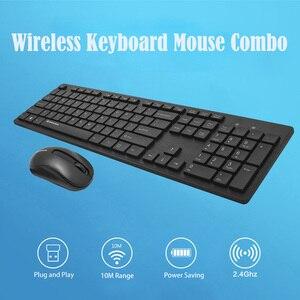 Image 2 - W1060 2.4Ghz Wireless Keyboard Mouse Slim Ergonomic Multimedia Keyboard 104 Keys USB Receiver 10M Range for Desktop/ Laptop