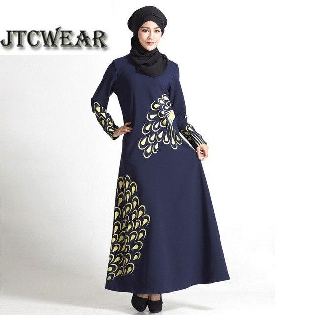 Jtcwear Peacock Feather Muslim Kaftan Dress Woman Long -7088