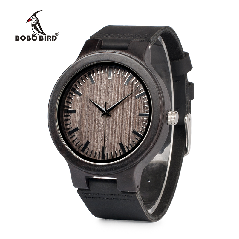 BOBO BIRD Black Mens Wood Watches Quartz Watch Real Leather Band Wooden Special WristWatch Relogio Masculino C-C26 DROP SHIPPING 2017 luxury watch bobo bird wood watches for men wooden band wristwatch with bamboo box relogio masculino b n07