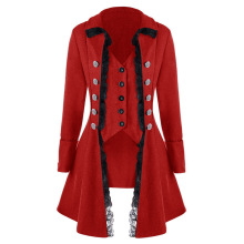 YJSFG HOUSE Tailcoat women Retro tops lace button decor vintage long sleeve Victorian coat Gothic Rock cosplay Steampunk Jackets