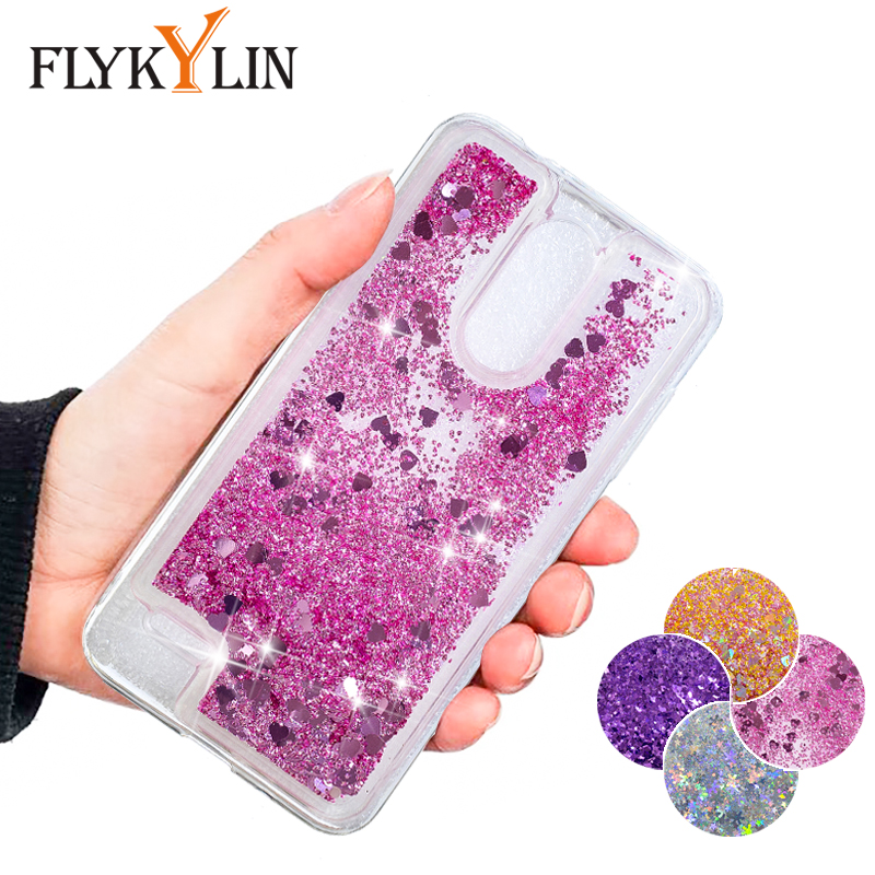 FLYKYLIN Glitter Liquid Case For LG K8 2018 Lv3 Lv7 2018 Stylo 4 Q Stylus X Power3 Cover Bling Quicksand Soft TPU Silicone Coque image