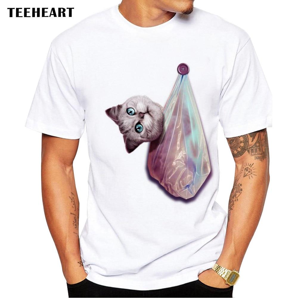 4e3fa4b65253 TEEHEART 2017 Sommer Lustige Katze in plastiktüten Design T shirt ...