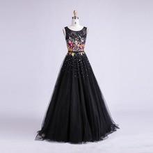 Women Long Black Prom Dress 2018 Sexy Tank Sleeveless Lace Tulle  Appliques Party Gown Formal Evening Dress Vestido De Festa