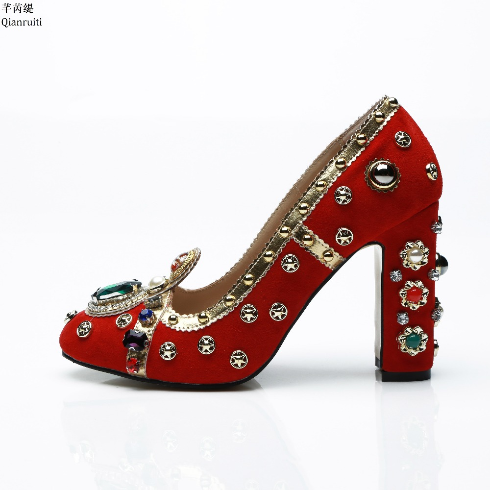 Qianruiti Red Suede Block Heels Women Shoes Bling Studded Rhinestone High Heels Wedding Shoes Round Toe Slip-on Women Pumps round toe suede slip on plimsolls