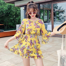 цена на 2019 New Style Sexy Women Two Piece Suits Yellow Round Collar Swimsuit Halter Print Swimwear Vintage Big Floral Swimming Suit