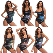 Plus Size 3XL Swimwear Women 2018 One Piece Swimsuit Female Striped Printed Backless Bodysuits Sport Swimming Suits for Women