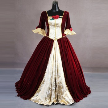 Beauty and the Beast cosplay Bella Costume for adult Halloween Costumes for women Bella princess Costume red long party dress