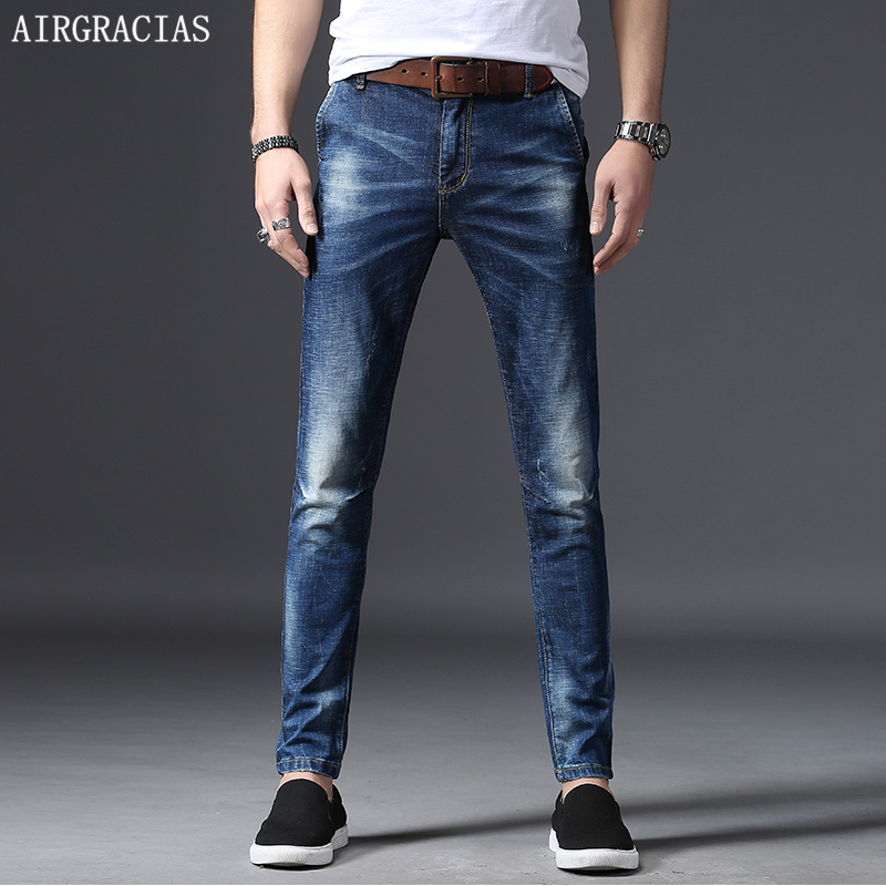 AIRGRACIAS Brand 2018 Spring Summer Men   Jeans   Color Blue Male Casual Denim Straight Pants Full Length Trousers Plus Size 28-38