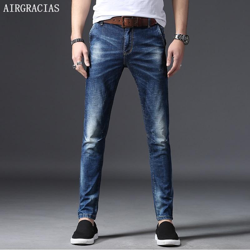 AIRGRACIAS Brand 2018 Spring Summer Men Jeans Color Blue Male Casual Denim Straight Pants Full Length Trousers Plus Size 28-38