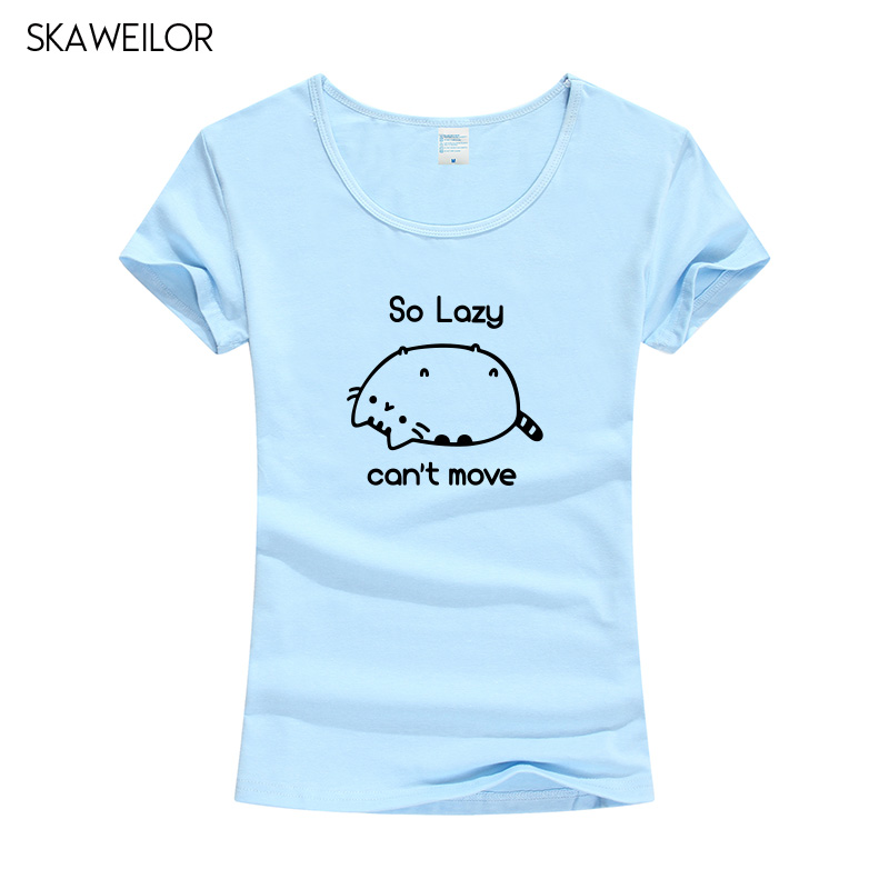 The Cat So Lazy Cant Move Print T-shirt Women New Fashion Cute Cat Short Sleeve T Shirt Funny Pet Tops Tees Female