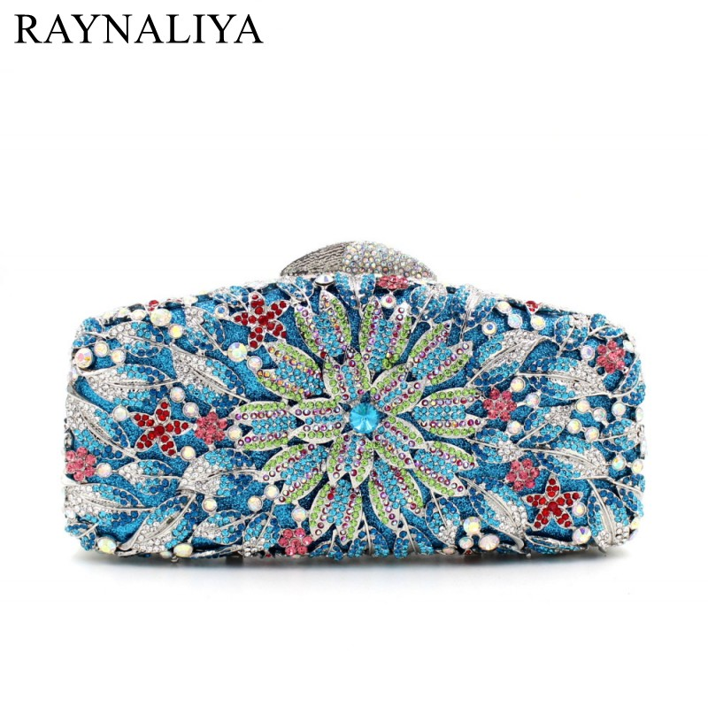 Famous Brand Ladies Multi Crystal Flower Evening Bags Women Wedding Party Prom Floral Diamond Clutch Handbag SMYZH-E0338 luxury crystal clutch handbag women evening bag wedding party purses banquet