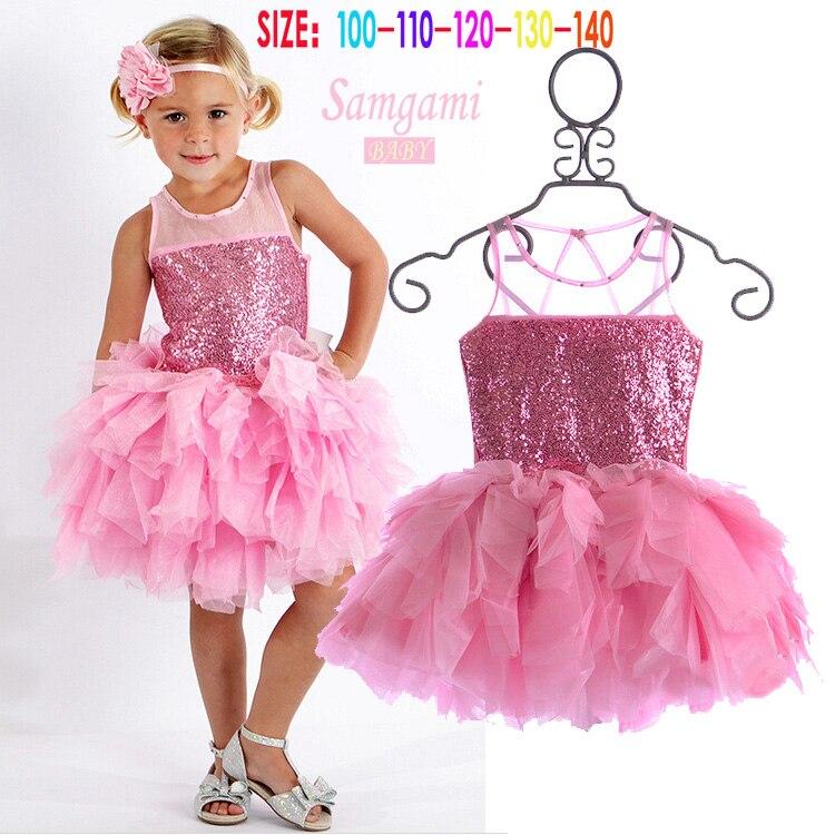 Buy Cheap Baby girls dress 2017 Brand New Girls princess dress children's birthday party sequined dress pink tutu kids free shipping