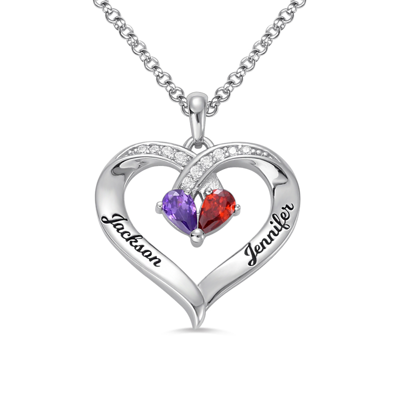 AILIN Forever Together Birthstone Engraved Necklace Word Letters Sterling Silver Personalized Name
