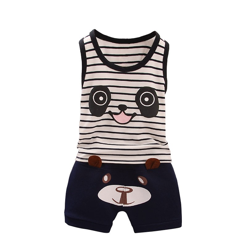 Sensible 2pcs Fashion Cotton Summer Wear Children Vest Shorts Catamite Baby Panda Athletic Clothes Sport Suits Y13 Mother & Kids