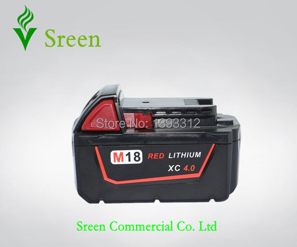 New 18V Lithium Ion 4000mAh Replacement Power Tools Battery Packs for Milwaukee M18 XC Cordless Drill 48-11-1828 48-11-1815 M18B
