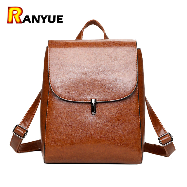 High Quality PU Leather Women Backpack Vintage Backpacks For ...