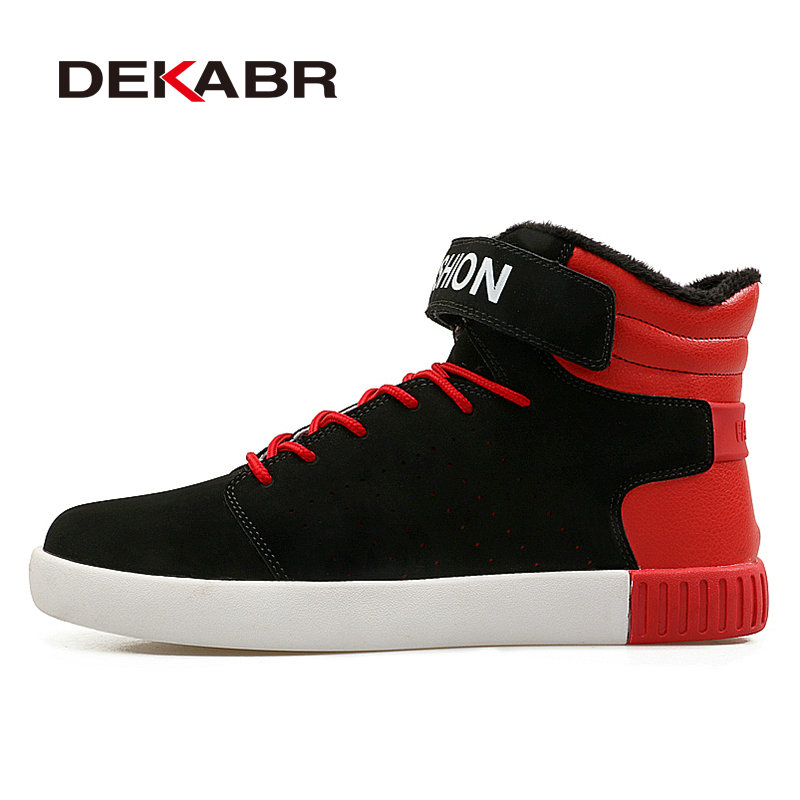 DEKABR Men Skateboarding Shoes Autumn Winter Warm Men Lace-up Outdoor Sport Plus Fur Skateboarding Shoes Men Sneakers