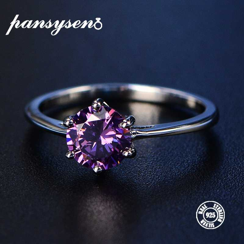PANSYSEN Solid 100% 925 Sterling Silver Women's Amethyst Rings Gemstone Fine Jewelry Ring Party Anniversary Gifts Big Size 4-12
