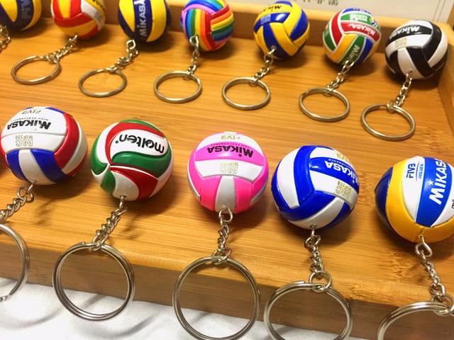 Sport Beach Volleyball PVC Keychain key ring Football Beach Ball Key Ring birthday gifts
