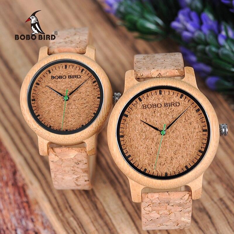 BOBO BIRD loves' Bamboo Watches Relojes Mujer relogio feminino Luxury Brand Quartz Wristwatch with Cork Band for Men Women