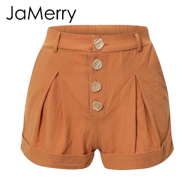 JaMerry винтажные хлопковые повседневные женские шорты, элегантные летние пляжные женские шорты на пуговицах, сексуальные однотонные черные шорты 2019