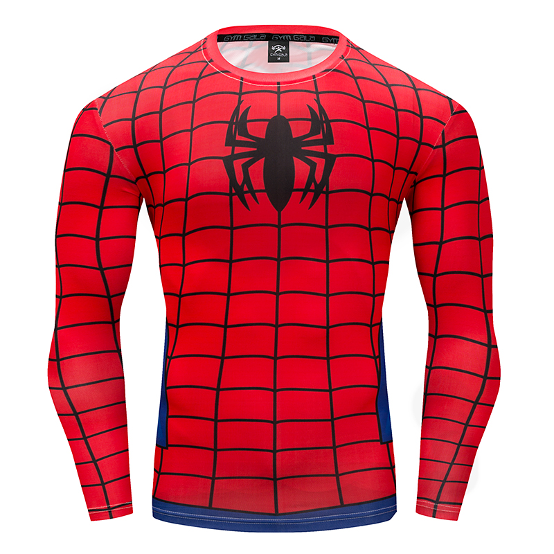 Men's T-Shirt 3D Superman/Bucky Soldier/Avenger Cosplay Compression Shirt Gyms Brand work out FitnessTops Long-sleeved T-Shirt