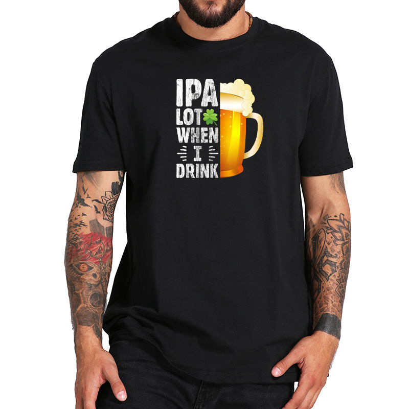 EU Size 100% Cotton T Shirt Brewing Beer IPA Tee Novelty Beer Glass Graphic Shirt Black Short Sleeve Loose Round Collar Tee image