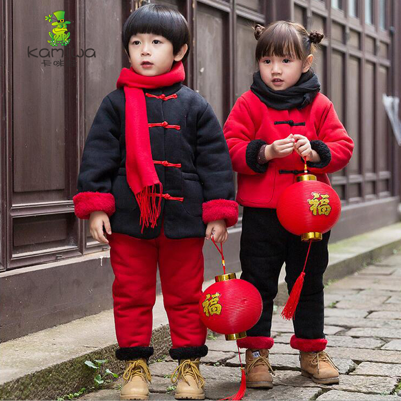 Girls coat Children's Clothing Sets 2017 Autumn Winter Baby Girls Clothes Sets Chinese Style coat+Pants Outfits boy coat