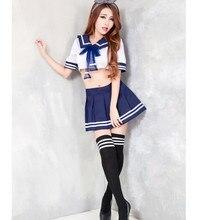 2017 New Hot Sexy Costume Women New Japanese School Uniform Girls Student 2Pcs Top and Skirt Sailor Babydoll Erotic Lingerie
