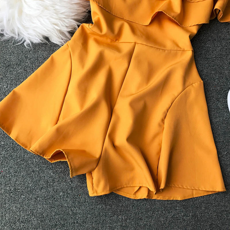 HTB1 ESFcbys3KVjSZFnq6xFzpXaC - Candy Color Elegant Jumpsuit Women Summer Latest Style Double Ruffles Slash Neck Rompers Womens Jumpsuit Short Playsuit