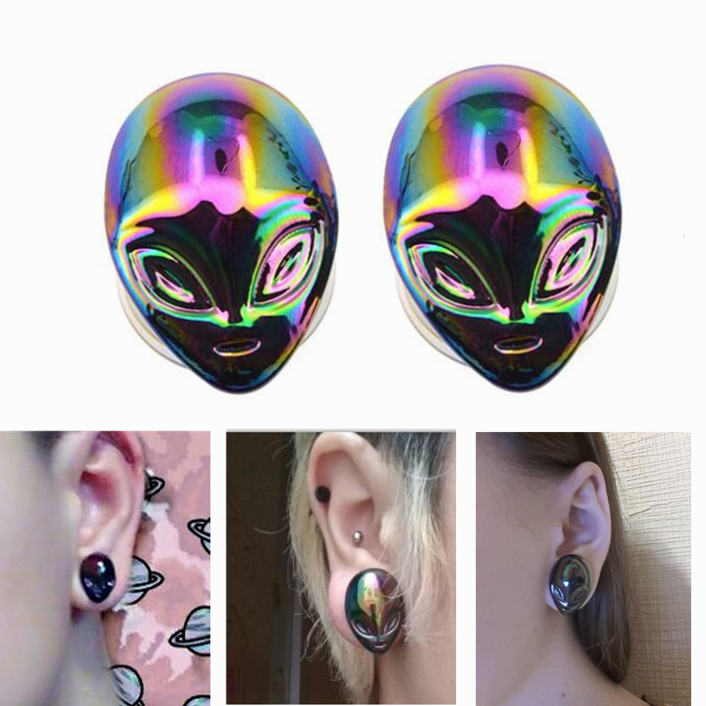 BODY PUNK Irridescent alien Pyrex Glass Gauges Ear Expanders Ear Plugs and Tunnel Pierci ...